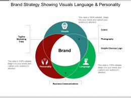 Brand Strategy Showing Visuals Language And Personality