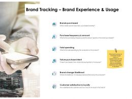 Brand Tracking Brand Experience And Usage Ppt Powerpoint Slides