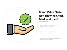 Brand Value Chain Icon Showing Check Mark And Hand