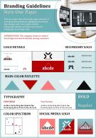 Branding Guidelines Style One Pager Presentation Report Infographic PPT PDF Document