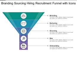 Branding Sourcing Hiring Recruitment Funnel With Icons