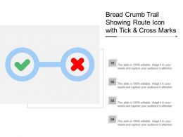 Bread Crumb Trail Showing Route Icon With Tick And Cross Marks