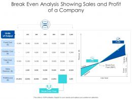 Break Even Analysis Showing Sales And Profit Of A Company