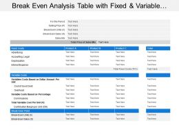 Break Even Analysis Table With Fixed And Variable Costs Ppt