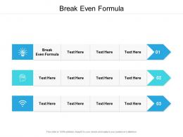 Break Even Formula Ppt Powerpoint Presentation Infographic Template Infographics Cpb