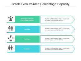 Break Even Volume Percentage Capacity Ppt Powerpoint Presentation Portfolio Skills Cpb