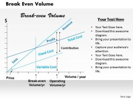 Break Even Volume Powerpoint Presentation Slide Template