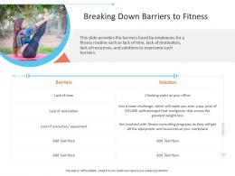 Breaking Down Barriers To Fitness Office Fitness Ppt Microsoft