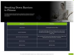 Breaking Down Barriers To Fitness Ppt Powerpoint Presentation Slides Background