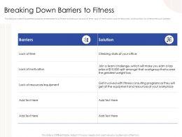 Breaking Down Barriers To Fitness Split Powerpoint Presentation Portrait