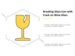 Breaking Glass Icon With Crack On Wine Glass