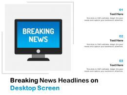 Breaking News Headlines On Desktop Screen