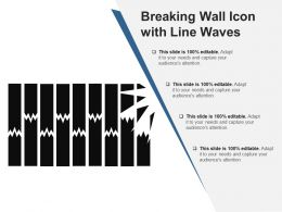 Breaking Wall Icon With Line Waves