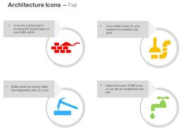 Brick Wall Hammer And Screw Chimney Water Tap Ppt Icons Graphics