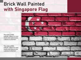 Brick Wall Painted With Singapore Flag
