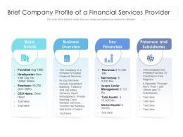 Brief Company Profile Of A Financial Services Provider