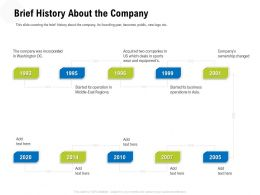 Brief History About The Company Dc East Ppt Powerpoint Presentation Ideas Guide
