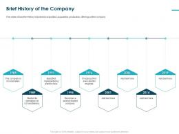 Brief History Of The Company Pitch Deck Raise Funding Bridge Financing Ppt Grid