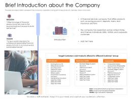 Brief Introduction About The Company Mezzanine Capital Funding Pitch Deck Ppt File Graphics Template