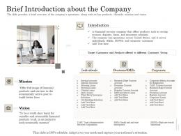 Brief Introduction About The Company Subordinated Loan Funding Pitch Deck Ppt Powerpoint Shapes