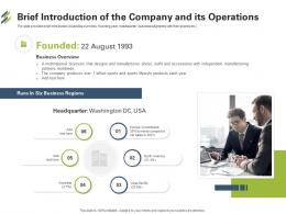 Brief Introduction Of The Company And Its Operations First Venture Capital Funding Ppt Tips