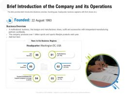 Brief Introduction Of The Company And Its Operations M3315 Ppt Powerpoint Presentation File Deck
