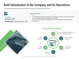 Brief Introduction Of The Company And Its Operations M3343 Ppt Powerpoint Visuals