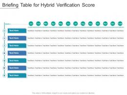 Briefing Table For Hybrid Verification Score Infographic Template