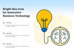 Bright Idea Icon For Innovative Business Technology