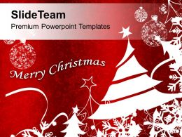 Bright Red Merry Christmas Background PowerPoint Templates PPT Backgrounds For Slides 0113