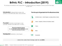 Britvic Plc Introduction 2019