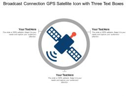 Broadcast Connection Gps Satellite Icon With Three Text Boxes