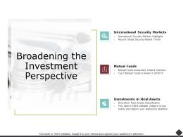Broadening The Investment Perspective Security Markets Powerpoint Presentation