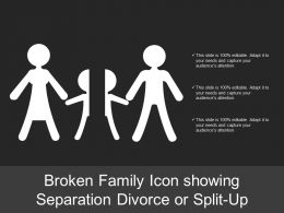 Broken Family Icon Showing Separation Divorce Or Split Up
