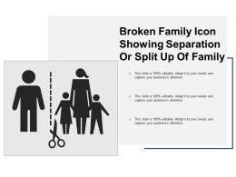 Broken Family Icon Showing Separation Or Split Up Of Family
