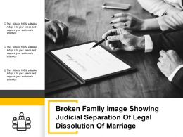 Broken Family Image Showing Judicial Separation Of Legal Dissolution Of Marriage