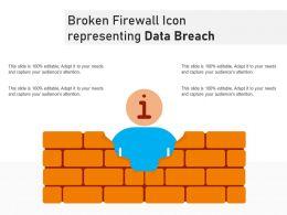 Broken Firewall Icon Representing Data Breach