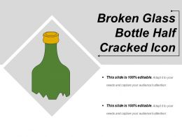 Broken Glass Bottle Half Cracked Icon