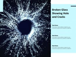 Broken Glass Showing Hole And Cracks