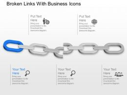 Broken Links With Business Icons Powerpoint Template Slide