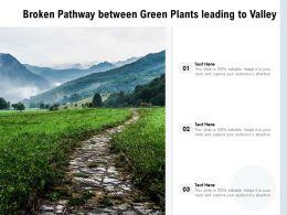 Broken Pathway Between Green Plants Leading To Valley