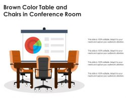Brown Color Table And Chairs In Conference Room