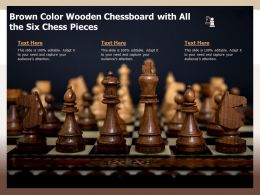 Brown Color Wooden Chessboard With All The Six Chess Pieces