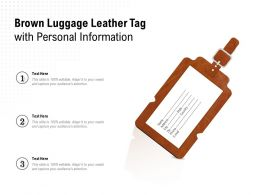 Brown Luggage Leather Tag With Personal Information