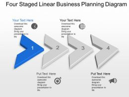 Bs Four Staged Linear Business Planning Diagram Powerpoint Template Slide