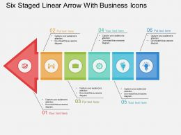 bs Six Staged Linear Arrow With Business Icons Flat Powerpoint Design