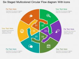 bs Six Staged Multicolored Circular Flow Diagram With Icons Flat Powerpoint Design