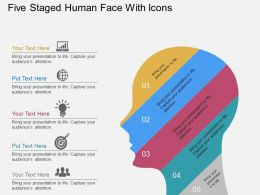 bt Five Staged Human Face With Icons Flat Powerpoint Design