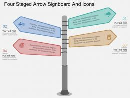 bt Four Staged Arrow Signboard And Icons Flat Powerpoint Design