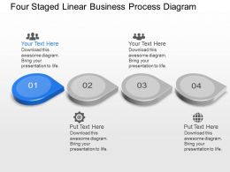 Bt Four Staged Linear Business Process Diagram Powerpoint Template Slide